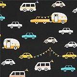 Art Gallery Fabrics Schwarzer Stoff mit Autos und Wohnwagen