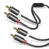 Cinch Kabel 2M, POSUGEAR 2 Cinch zu 2 Cinch Stecker Stereo RCA AudioKabel Vergoldet für Heimkino, HDTV,Hi-Fi Anlagen,Blu-Ray Player,Spielkonsole und Mehr