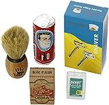 Shaving Set with Shaving Factory Double Edge Safety Razor/ Alum Bloc Osma/ Shaving Factory XS Shaving Brush/ Arko Soap and Derby Extra Blades