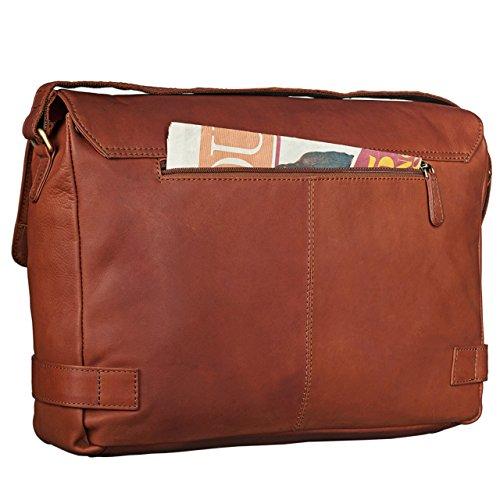STILORD Luca Borsa da Postino Vintage Design Uomo Donna Business Borsa per il portatile 15.6 pollici, Colore:cognac-marrone cognac-marrone
