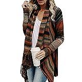 fuxinhe Damen Jacke Warm Elegant Lady Langarm Fransen Quasten Lässig Asymmetrisch Irregular Stricken Schal Jacken Outdoor Knit Cape Trachtentuch Poncho