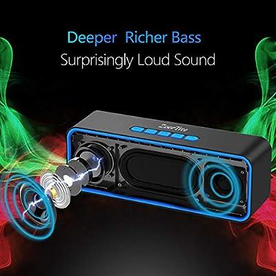 ZoeeTree S1 Haut-Parleur Bluetooth sans Fil, Extérieur, Enceinte Stéréo avec Audio HD et Basses Amélioré, Intégré Double Pilote Haut-Parleur, Bluetooth 4.2, Mains Libres Téléphone et TF - Black par ZoeeTree