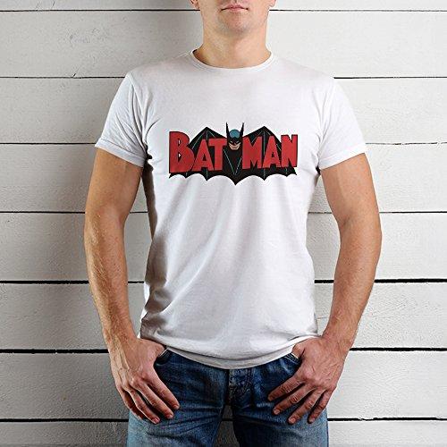 ApexPrint Apex Print Men's Printed Half Sleeve Round Neck White Cotton T-shirt - Vintage Superhero Batman