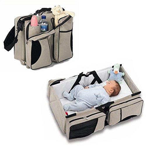 Zanza 3in 1-Wickeltasche, Mehrzweck-Tasche, für Reisen, für Stubenwagen, für Babys und Kleinkinder, für Windeln, als Tragebettchen und Wickeltisch, tragbar, veränderbar (3-in-1 Wickeltasche Reisebett)