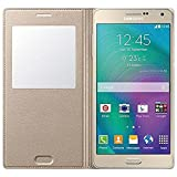 mobbysolTM SView Window Leather Flip Case Cover with sensor for Samsung Galaxy A7(2015),GOLDEN