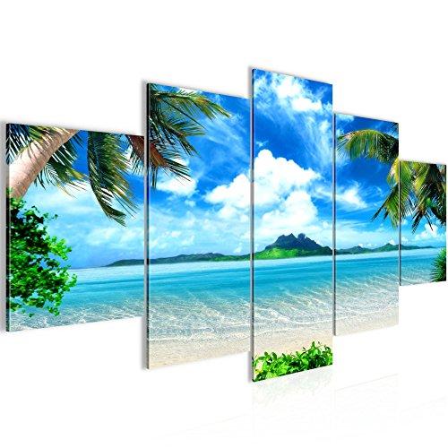 Photo Palmiers de plage Décoration Murale 200 x 100 cm Toison - Toile Taille XXL Salon Appartement Décoration Photos d'art Bleu 5 Parties - 100% MADE IN GERMANY - prêt à accrocher 603351a