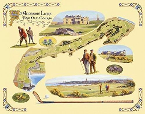 The Poster Corp Bernard Willington - Golf Course Map-St. Andrews Kunstdruck (27,94 x 35,56 cm) -