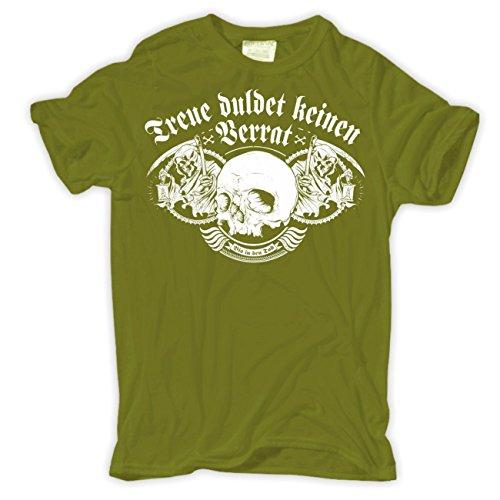 Männer und Herren T-Shirt Treue duldet keinen Verrat (mit Rückendruck) Moosgrün