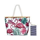 Joeyer Trendige Canvas Strandtasche mit Reißverschluss, Große Reise Einkaufstasche Handtasche für Urlaub (4)