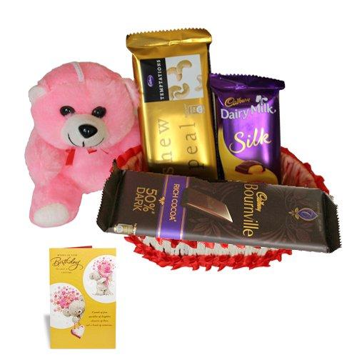 Chocolate Gift Basket With Birthday Greeting Card