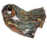 Prettystern Damen Seiden-Schal Malerei Silk Scarf Florale bunt Gustav Klimt -Bauerngarten mit Sonnenblumen P882