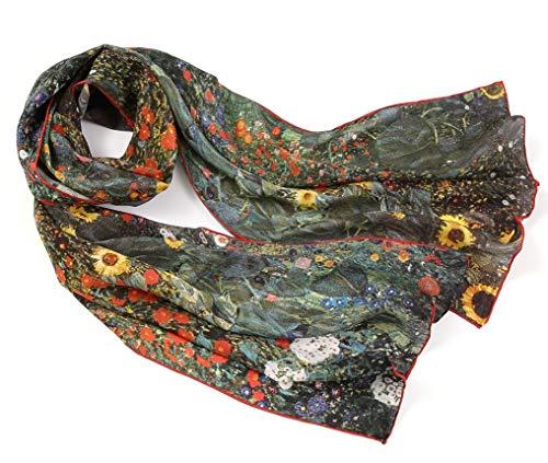 prettystern Damen Seiden-Schal Malerei Silk Scarf Florale bunt Gustav Klimt -Bauerngarten mit Sonnenblumen P882 -