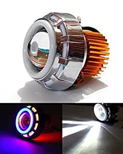 AutoStark Projector Lamp Led Headlight Lens Projector (High Beam, Low Beam, Flasher Function (Blue,Red and White) for Bajaj Pulsar RS 200