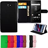 Gr8 value Luxury PU Leather Wallet Cover Flip book Phone Mobile case PU Leather Flip Case Cover for Sony Xperia M2 (plain black book)