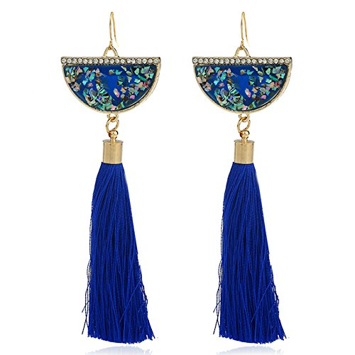 Gnzoe Schmuck Simple Luxus Design Halbkreisförmig Quaste Ohrringe für Damen Hood Ohrringe Marineblau