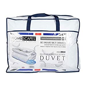 Homescapes White Duck Feather & Down 15 Tog Double Duvet - 100% Cotton Anti Dust Mite & Down Proof Fabric - Anti allergen - Washable at Home - Luxury Winter Quilt