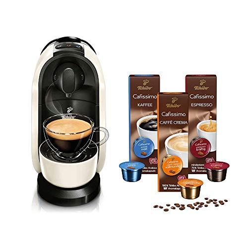 Tchibo Cafissimo Pure Kapselmaschine (für Kaffee, Espresso, Caffé Crema und Tee) (inkl. 30 Kapseln, Weiß)