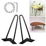 Zipom, gambe a forcella per tavolo, in metallo stile vintage, modernariato anni '50, adatte per scrivanie, tavoli da pranzo, tavolini, gambe per arredamento, set di 4, 71cm, a 3aste, 36cm-2Rod