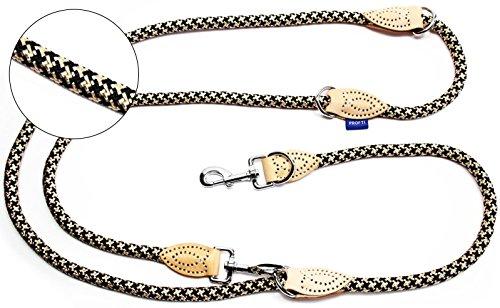 PROFTI Hundeleine aus Nylon, Lederelemente, 4fach verstellbar, große/kleine Hunde, 2,3 Meter, Schwarz/Beige