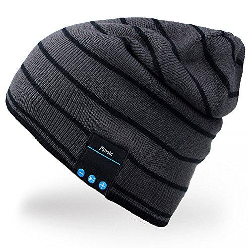 Rotibox Bluetooth Beanie-Musik Weiche warme Hut-Kappe mit drahtlosem Kopfhörer-Kopfhörer Stereolautsprecher Mic geben frei, bestes Geburtstags-Weihnachtsgeschenk für Winter-im Freiensport-Skifahren-Snowboard-Wandern-Grau
