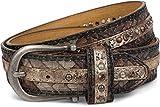styleBREAKER cintura borchiata in un look intrecciato fresco, con borchie a sfera, a stella e con strass, cintura, accorciabile, da donna 03010075, colore:85cm, colore:Antico-Oro-Marrone