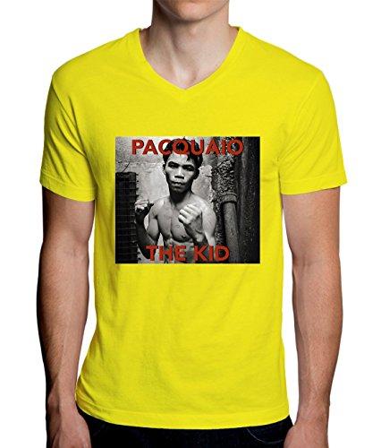 Pacquaio The Kid Fighter Design Men's V-Neck T-Shirt XX-Large (Gelbes Fighter T-shirt)