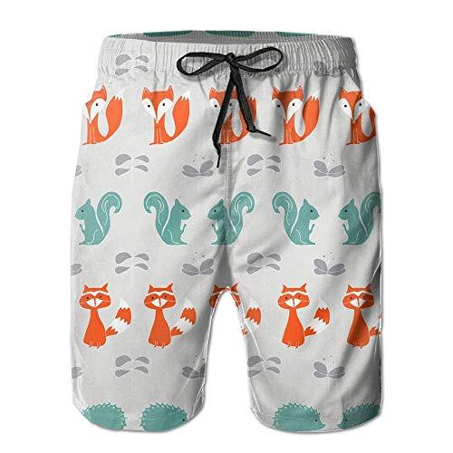 Men's Fox and Squirrel Stripe Boardshorts Beach Shorts Small Fox Girls Capris