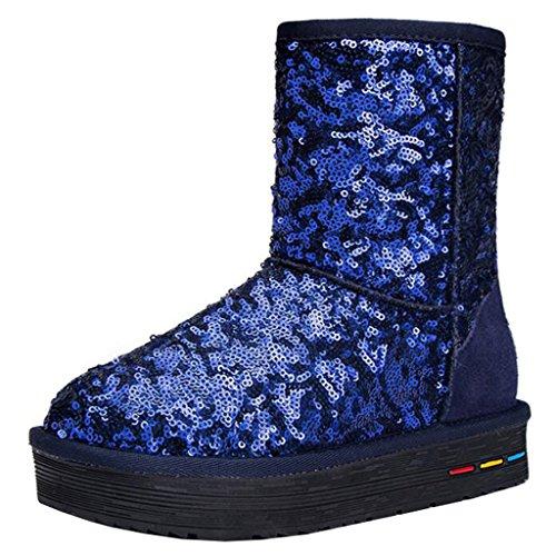 Mashiaoyi Donna Round-Toe Piattoform Senza Chiusura Sequins Pelliccia Stivali da Neve Blue