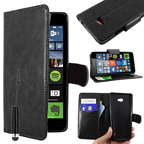 ebestStar - Microsoft Lumia 640 Hülle 640 LTE Dual Kunstleder Wallet Case Handyhülle [PU Leder], Kartenfächern, Standfunktion + Mini Stift, Schwarz [Lumia 640: 141.3 x 72.2 x 8.8mm, 5.0'']