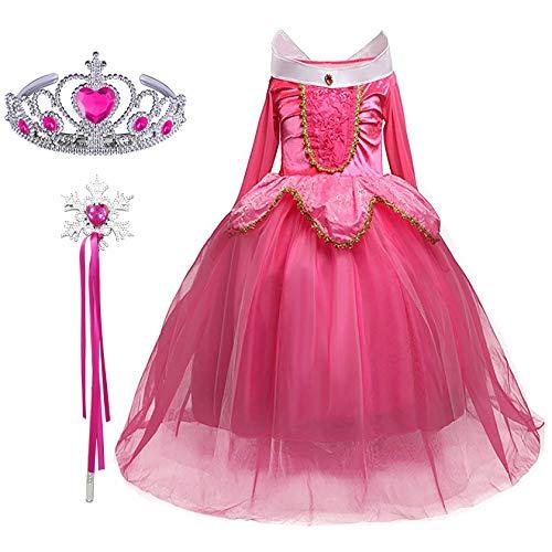 Aurora Kostüm Mädchen - FStory&Winyee Mädchen Kostüm für Karneval Kinder Prinzessin Dornröschen Aurora Kostüm Kleid Set Krone Zauberstab Geschenk Cosplay Verkleidung Fasching Party Weihnachten Kindergeburtstag Festkleid Rosa