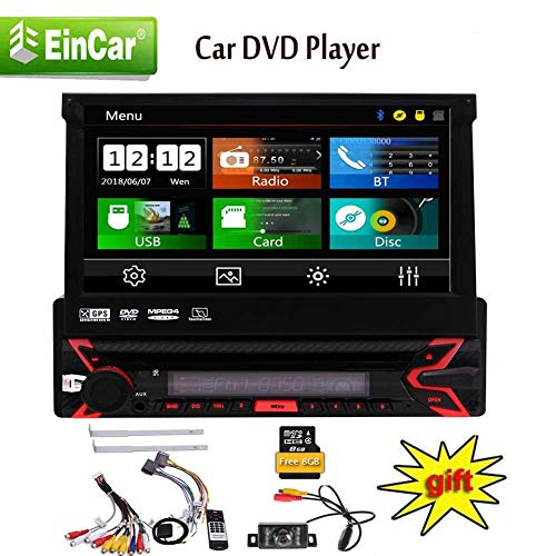 EINCAR Single 1 DIN 7inch einziehbare kapazitive Touchscreen Autoradio GPS-Navigation im Schlag Bluetooth Autoradio DVD/CD-Player 1080P Video Player AM/FM Radio/TF/USB/AUX-in + Fernbedienung und R (10 Zoll-auto-stereo Single Din)