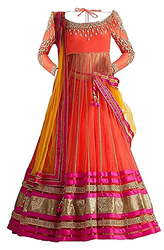 Clickedia Kids Heavy Net Embroidered Orange Indo Western Lehenga with matching Dupatta - traditional wear ( 8-11 yrs)- Semi-Stitched alterable