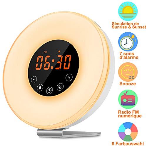 Preisvergleich Produktbild kungfuren Lichtwecker,  Wake Up Licht mit 6 Naturgeräuschen & FM Radio,  7 Farben mit Sunrise Sunse,  Snooze Funktion,  10 Dimmstufen Touch Control Tageslichtwecker