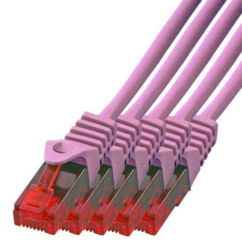 BIGtec - 5 Stück - 1m Gigabit Netzwerkkabel Patchkabel Ethernet LAN DSL Patch Kabel pink ( 2x RJ-45 Anschluß, Cat.5E, kompatibel zu Cat.6 Cat.6A CAT.7 ) 1 Meter -
