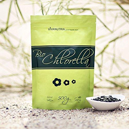 Geovitalis - Chlorella 500g - 2000 (compresse) pezzi in un sacchetto richiudibile puro al 100%, senza additivi e premendo ausiliario