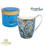 CARMANI - Fine Bone China Mug for Tea, Coffee, Cocoa in a Gift Box with Vincent Van Gogh - Almond blossoms 400 ml