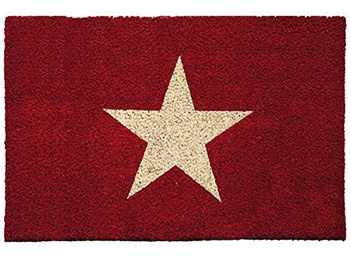 Kokos Fußmatte | Kokosmatte | Coco Fußmatte | Fussmatte | Antirutschmatte | Schmutzfangmatte | Fußmatten Kokosfasern | Rutschfest | Größe 40 x 60 cm | verschiedene Motiv Matten (Stern Rot)