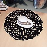 Runde Laser Cut Blumen Design Filz-Tischsets Küche Abendessen Tisch MATS 30x 30cm, Schwarz, Free Size