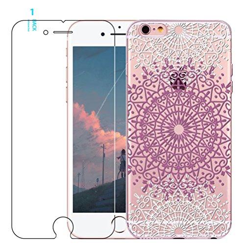 Coque iPhone 5/5S/SE avec film protecteur d'écran en verre trempé, Blossom01Ultra mince Soft Gel coloré Mandala Motif fleur TPU Coque de protection en silicone avec motif de henné pour iPhone SE/5/5S #03