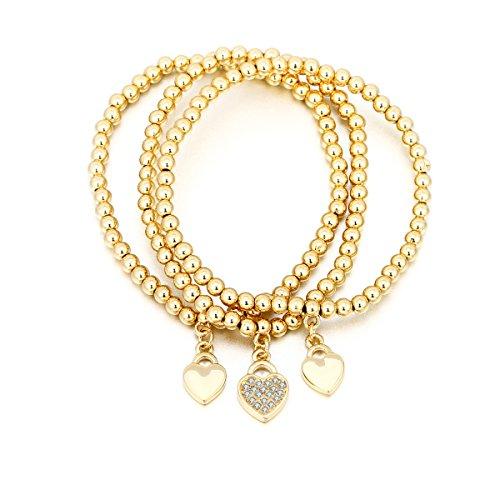 4de6fcee2 Women Charms Bracelet Stretch Bracelets for Girls Bead Bangle Lucky Love  Heart Charm Bracelet Adjustable Cuff