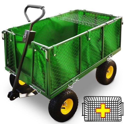 Chariot Remorque de transport jardin Côtés amovibles sur 4 roues Charrette avec Panier metallique