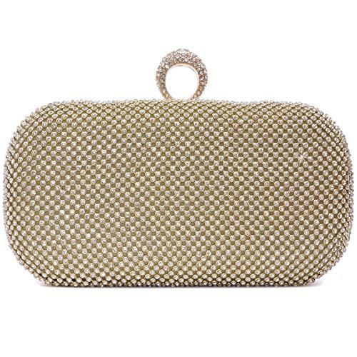 Vain Secrets Damen Strass Abendtaschen Clutch Umhänge Tasche Handtasche mit Schlag Ring in 3 Farben (20 Cm Lang - 10 Cm Hoch - 7 Cm Breit, Gold mit Ring)