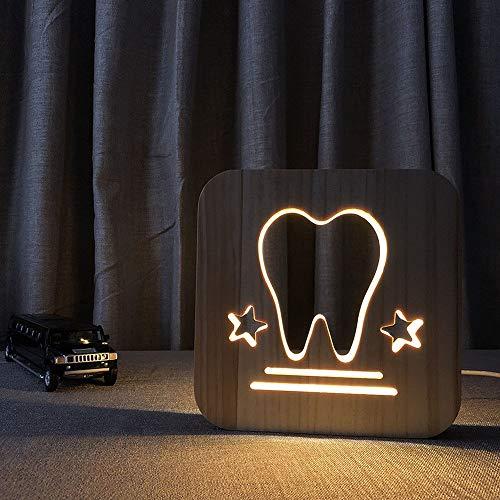 Wangwang454 Zähne, Die Hohle Hölzerne Schnitzende Tischlampe Kreative Geschenkneuheitsnachtlicht USB-Stromversorgung Modellieren