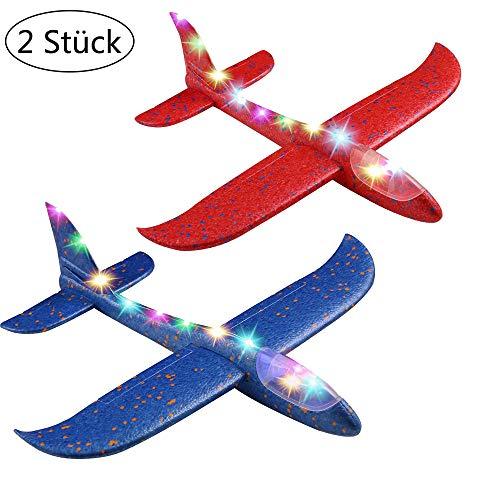Ridecle Beleuchtete Styroporflieger Segelflugzeug 47cm fliegen Segelflugzeuge Schaum Flugzeuge Modell Hand werfen Outdoor-Sport Spielzeug Flugzeuge Geschenk für Jungen Mädchen Kinder, Blau+Rot -