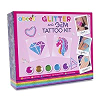 Glitter Tattoos Kit for Girls - Contains 5 Pots of Glitter, Gems, Tattoo Stencils and Makeup Brush