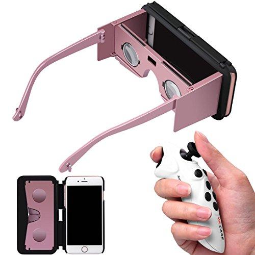 Sansee Virtual Reality Google Gläser 3D VR Handy Fall für iPhone 6S Plus 5,5 Zoll 1pc neue Fernbedienung (Rose Gold) (47 Lg Tv Google)