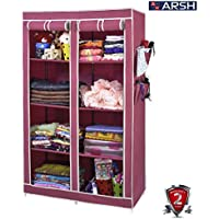 Arsh Portable And Collapsible Wardrobe Metal Frame 8 Racks Closet, Aw08, Maroon With High Capacity Up To 70Kgs