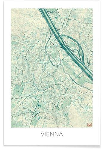 JUNIQE® Poster 20x30cm Stadtpläne Wien - Design