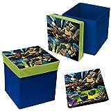2Stück Sitztruhe mit Hocker für Kinder Spielzeugkiste faltbar Schildkröte Ninja Disney 31x 31x 33Neu