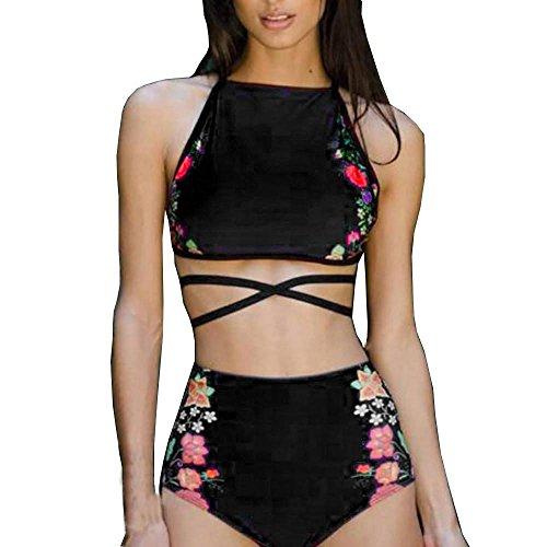 AMUSTER Damen Bikini Set Bademode Frauen Sexy Tank Tops Bustier BH Push-Up Print BH Badeanzug Beachwear S-XL (Schwarz, L)